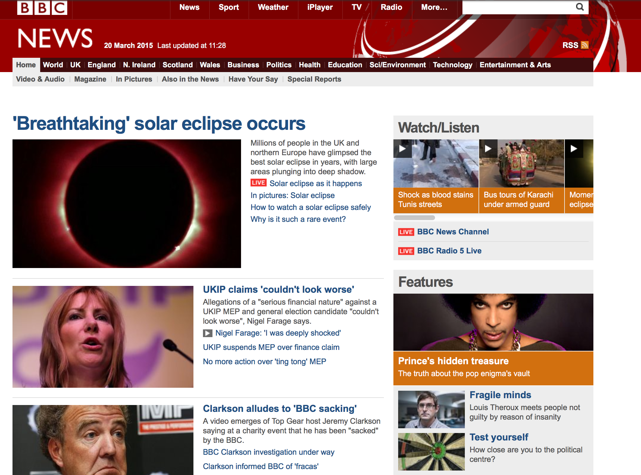 BBC News on 20th March 2015